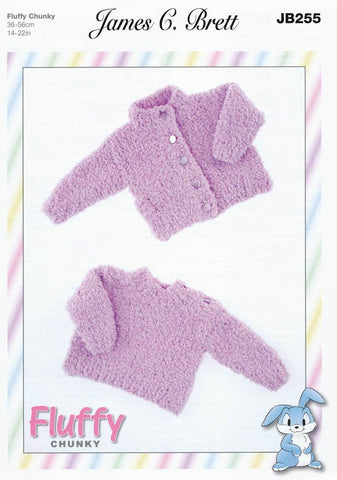 Cardigans and Sweaters in James C. Brett Fluffy Chunky (JB255)-Deramores