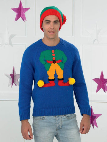 Mens Christmas Elf Sweater and Hat in James C. Brett Top Value DK (JB270)