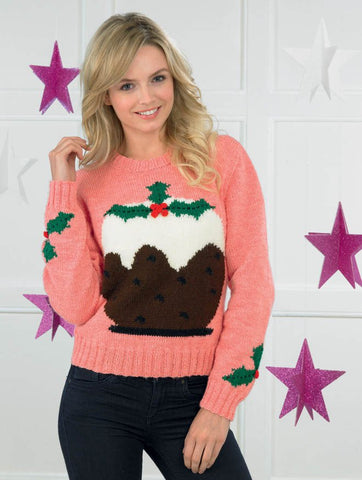 Ladies Christmas Pudding Sweater in James C. Brett Top Value DK (JB271)-Deramores