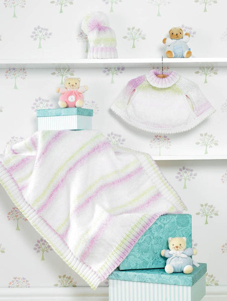 Cape, Blanket and Hat in James C. Brett Baby Marble DK (JB283)-Deramores