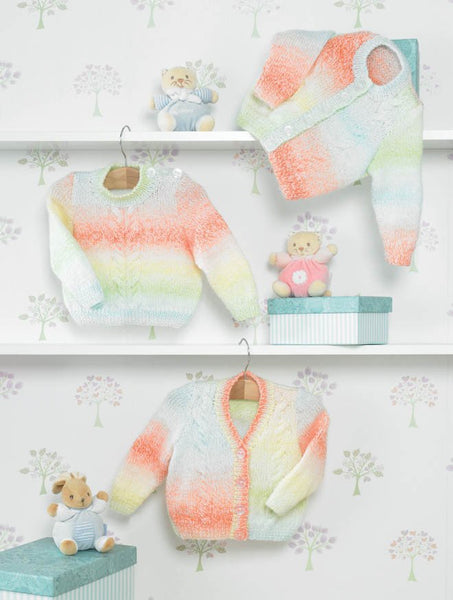 Cardigans and Sweater in James C. Brett Baby Marble DK (JB285)-Deramores