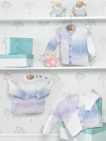 Cardigans and Sweater in James C. Brett Baby Marble DK (JB286)-Deramores