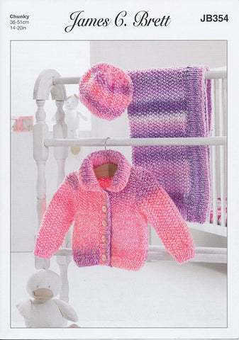Jacket, Hat and Blanket in James C. Brett Baby Marble Chunky (JB354)-Deramores