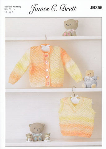 Cardigan and Slipover in James C. Brett Baby Marble DK (JB356)-Deramores