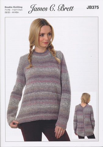 A Line Sweater with Back Fastening in James C. Brett Marble DK (JB375)-Deramores