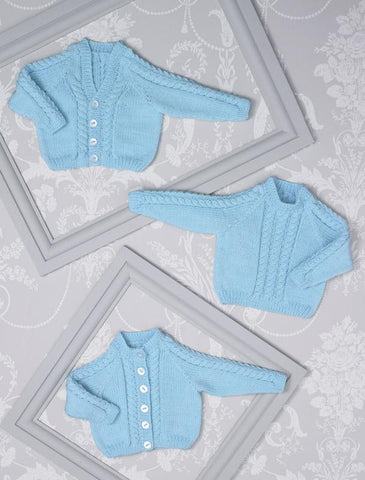 Babies Cardigans & Sweater in James C. Brett Innocence Bamboo Rich DK (JB507)