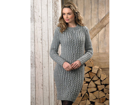 Sweater Dress in James C. Brett Rustic Aran (JB625)