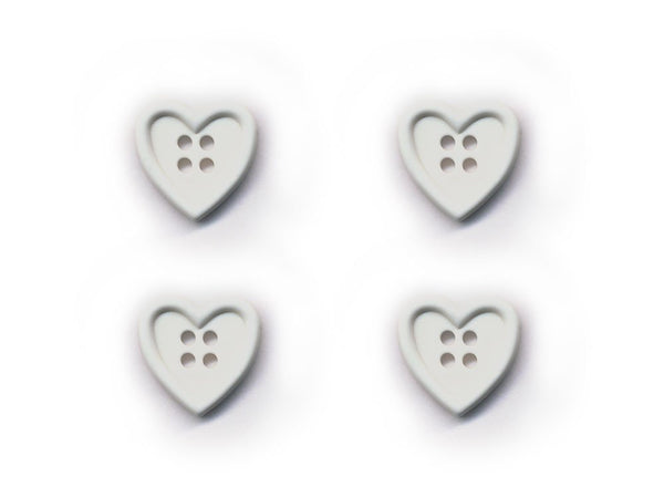 Heart Shaped Buttons - White - 017-Deramores