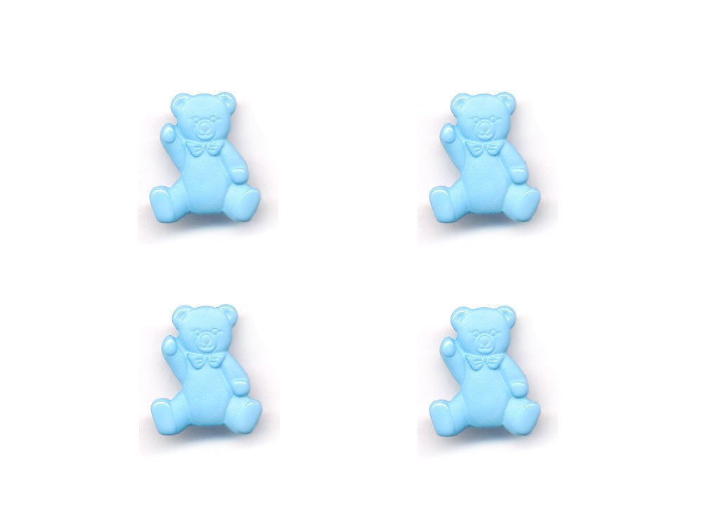 Teddy Bear Shaped Buttons  Blue  080
