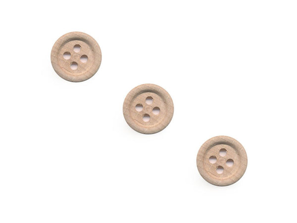 Rimmed  Round Buttons - Wood - 099