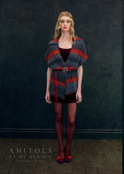 Albion Shawl Collared Vest in Louisa Harding Amitola (L3-01)-Deramores