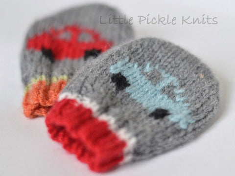 Little Cars Baby Mittens by Linda Whaley - Digital Version-Deramores