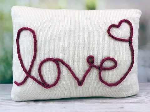 With Love Cushion Knitting Kit and Pattern in Deramores Yarn