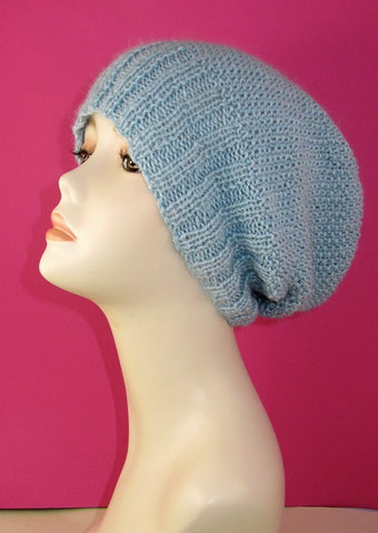 MadMonkeyKnits 2 x 2  Rib Cuff Moss Stitch Slouch Hat (796) - Digital Version