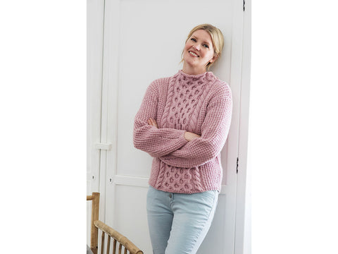 Women's Cabled Sweater in Novita 7 Veljestä