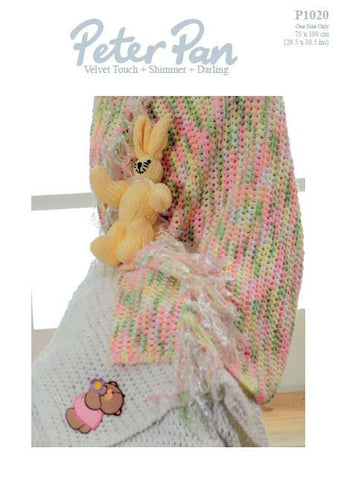 Cot Blanket and Rabbit Toy in Peter Pan Darling (P1020) Digital Version-Deramores