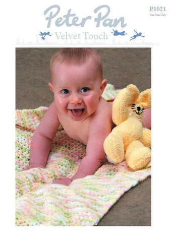 Cot Blanket and Rabbit Toy in Peter Pan Velvet Touch (P1021) Digital Version-Deramores