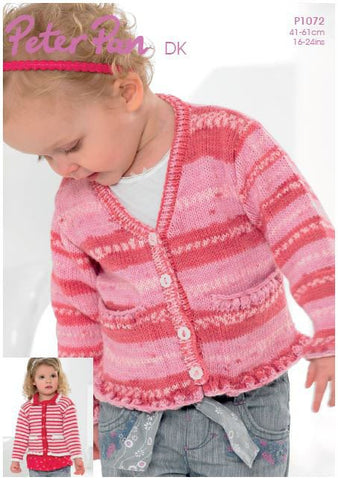 V Neck and Collared Ruffle Edged Cardigans in Peter Pan DK (P1072) Digital Version