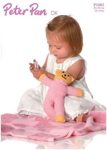 Teddy Toy and Blanket in Peter Pan DK (P1082) Digital Version