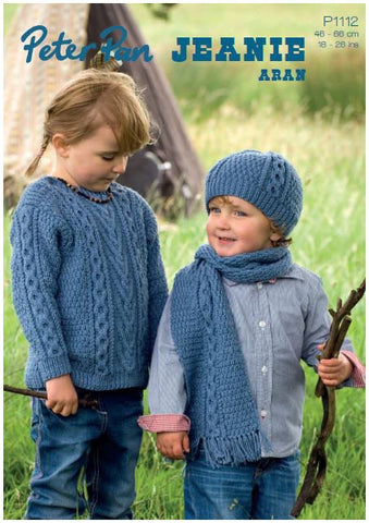 Cabled Sweater, Hat and Scarf in Peter Pan Jeanie Aran (P1112) Digital Version-Deramores