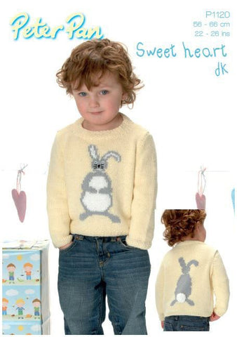 Bunny Sweater in Peter Pan DK (P1120) Digital Version-Deramores