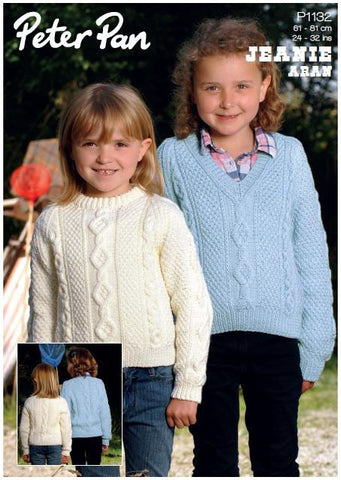 Children's Sweaters in Peter Pan Jeanie Aran (P1132) Digital Version-Deramores