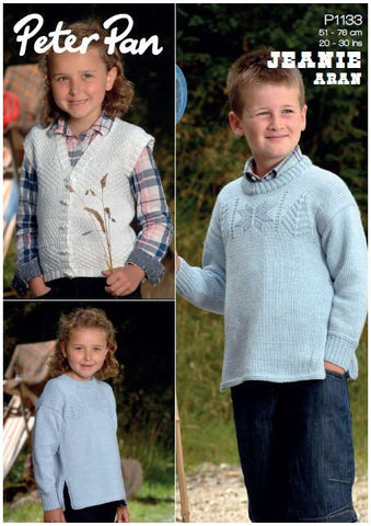 Guernsey Sweater and Waistcoat in Peter Pan Jeanie Aran (P1133) Digital Version-Deramores