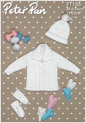 Jacket, Hat and Mitts in Peter Pan DK (P1156) Digital Version-Deramores