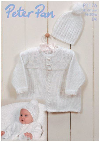 Cable Edged Jacket and Hat in Peter Pan DK (P1176) Digital Version-Deramores