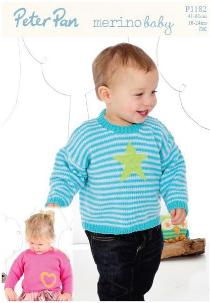 Sweaters with Heart or Star Motif in Peter Pan Merino Baby DK (P1182) Digital Version