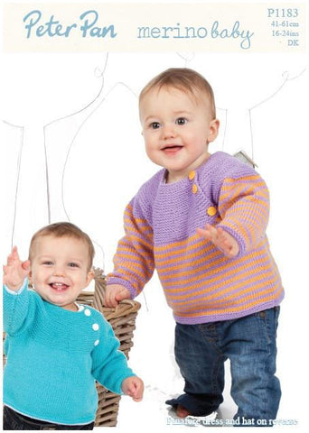 Yoked Sweaters, Pinafore Dress and Hat in Peter Pan Merino Baby DK (P1183) Digital Version