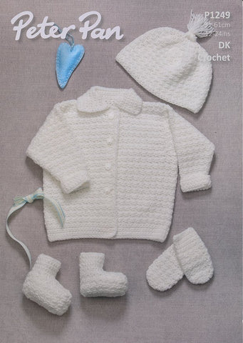 Crochet Jacket, Hat, Mitts and Bootees in Peter Pan DK (P1249)-Deramores