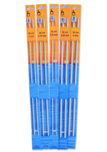 Pony Single Point Knitting Needles (Aluminium) - 35cm (Pair)