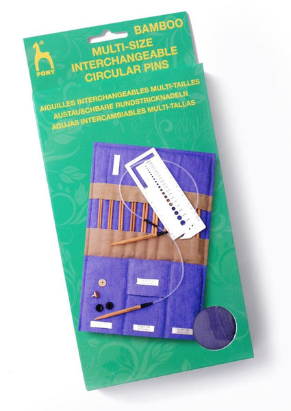 Pony Interchangeable Circular Knitting Needles Set (Bamboo)