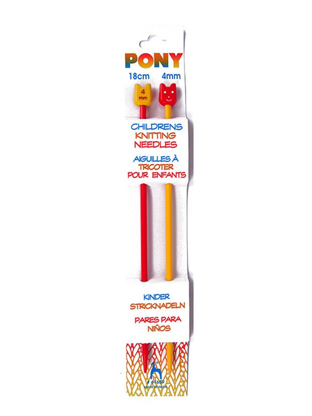Pony Childrens Plastic Knitting Needles (Pair)  4.00mm