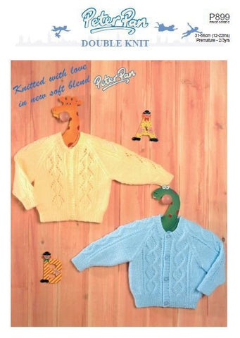 Raglan Cardigans with Lace or Cable Panels in Peter Pan DK (P899) Digital Version