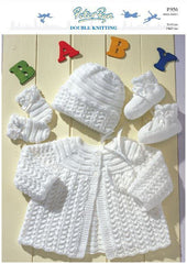 Matinee Coat, Bonnet, Mittens and Bootees in Peter Pan DK (P956) Digital Version