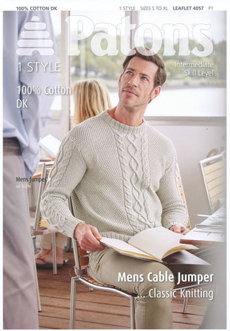 Mens Cable Jumper in Patons 100% Cotton DK (4057)