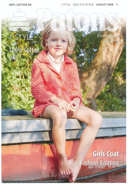 Girls Coat in Patons 100% Cotton DK (4058)