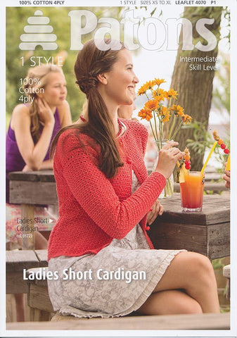 Ladies Short Cardigan in Patons 100% Cotton 4 Ply (4070)-Deramores