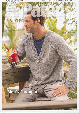 Mens Cardigan in Patons Washed Cotton DK (4071)