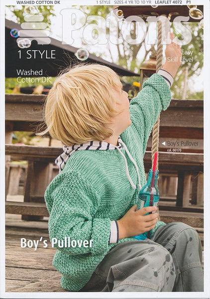 Boys Pullover in Patons Washed Cotton DK (4072)