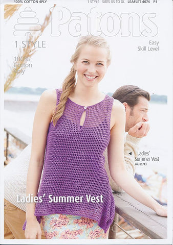 Ladies Summer Vest in Patons 100% Cotton 4 Ply (4074)-Deramores