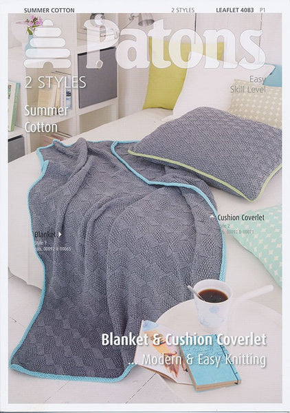 Blanket and Cushion Cover in Patons Summer Cotton (4083)