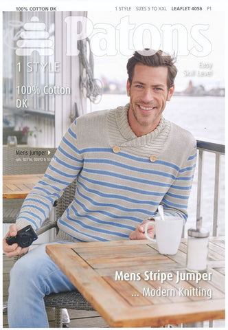 Mens Stripe Jumper in Patons 100% Cotton DK (4056)