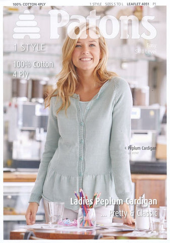 Ladies Peplum Cardigan in Patons 100% Cotton 4 Ply (4051)-Deramores