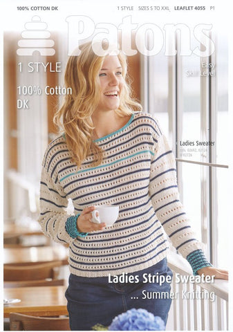 Ladies Stripe Sweater in Patons 100% Cotton DK (4055)-Deramores