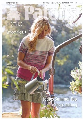 Ladies Summer Top in Patons Smoothie DK (4060)-Deramores
