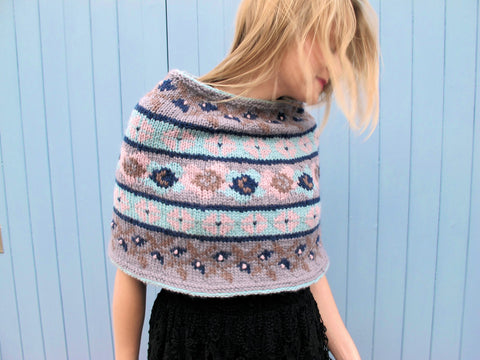 Vintage Collection Floral Fairisle Short Poncho in Erika Knight Vintage Wool - Digital Version