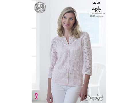 Lady's Crochet Cardigan in King Cole Giza Cotton Sorbet 4 Ply Kit